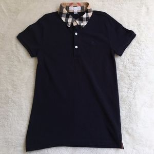Burberry Boys Blue Nova Check Polo Shirt Sz 10 Y